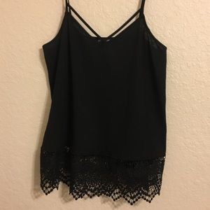 Express Flowy Criss Cross and Lace Trim Tank Top